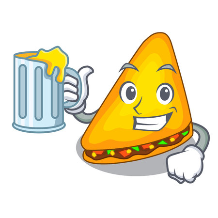 With juice quesadilla on a table in mascot vector illustration