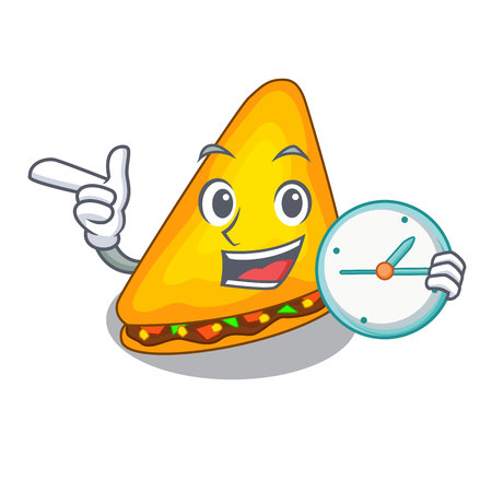 With clock mexican quesadilla wrap with a character vector illustration