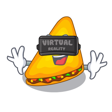 Virtual reality quesadilla on a table in mascot vector illustration