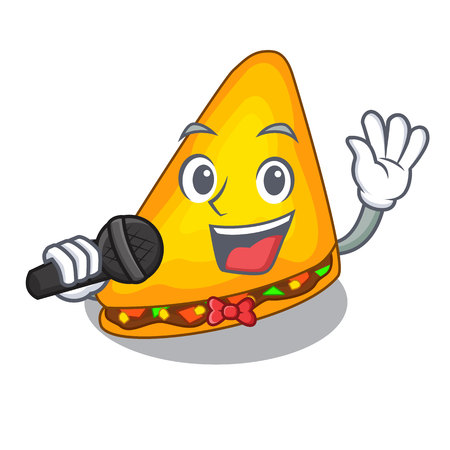Singing quesadilla on a table in mascot vector illustration