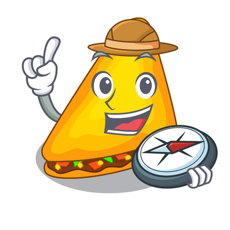 Explorer quesadilla on a table in mascot vector illustration