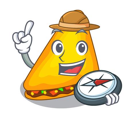 Explorer quesadilla on a table in mascot vector illustration 版權商用圖片 - 127236721