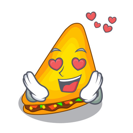 In love quesadilla on a table in mascot vector illustration