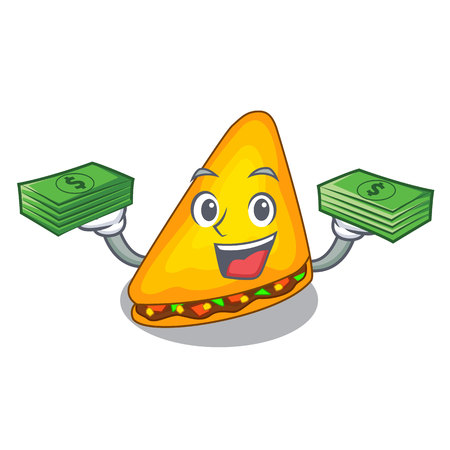 With money quesadilla on a table in mascot vector illustration