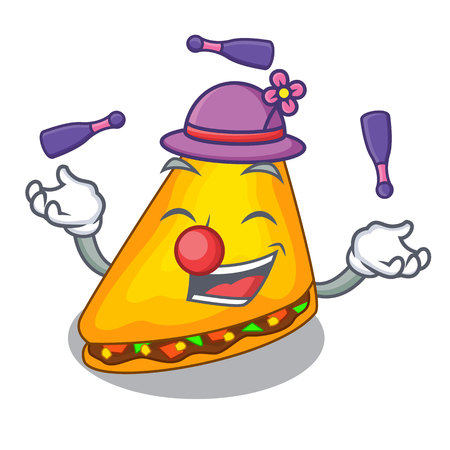 Juggling cooked quesadillas parts with a cartoon vector illustration