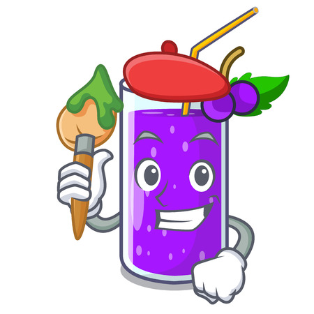 Artist grape juice bottled with in cartoon vector illustration