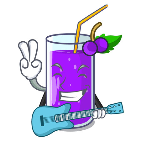With guitar grape juice in glass a mascot vector illustration Stock Illustratie
