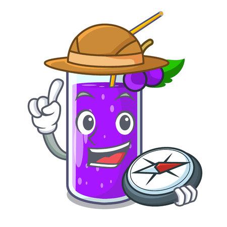 Explorer grape juice in glass a mascot vector illustration
