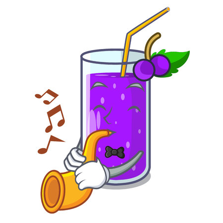 With trumpet grape juice in glass a mascot vector illustration