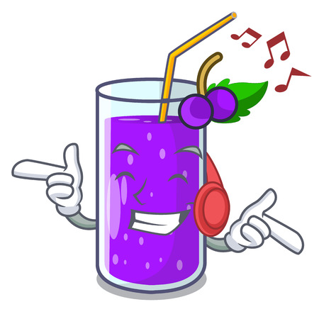 Listening music grape juice in glass a mascot vector illustration