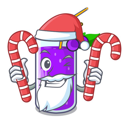 Santa with candy grape juice bottle with label cartoon vector illustration Illustration