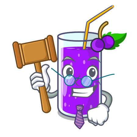 Judge grape juice bottle with label cartoon vector illustration