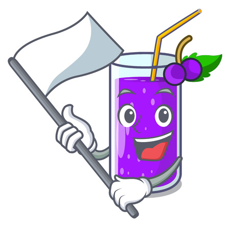 With flag grape juice bottle with label cartoon vector illustration