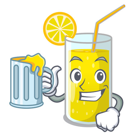 With juice lemon juice glass on character table vector illustration