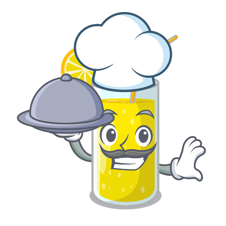 Chef with food lemon juice glass on character table vector illustration