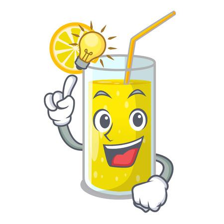 Have an idea fresh lemon juice in glas cartoon vector illustration