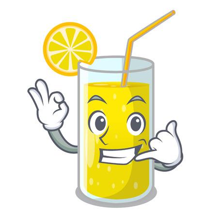 Call me fresh lemon juice in glas cartoon vector illustration