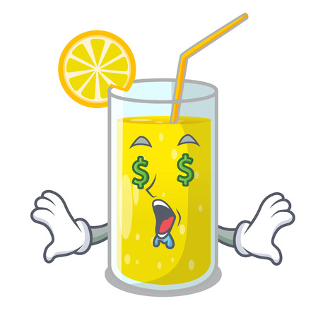 Money eye fresh lemon juice in glas cartoon vector illustration
