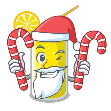 Santa with candy fresh lemon juice in glas cartoon vector illustration