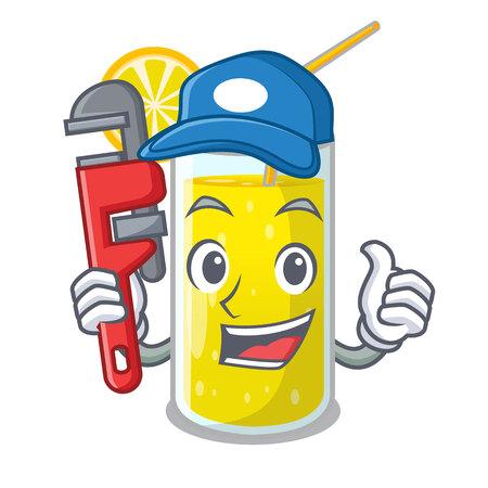 Plumber fresh lemon juice in glas cartoon vector illustration