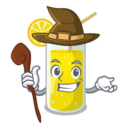Witch lemon juice glass on character table vector illustration Illustration