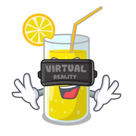 Virtual reality lemon juice glass on character table vector illustration