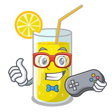 Gamer lemon juice glass on character table vector illustration