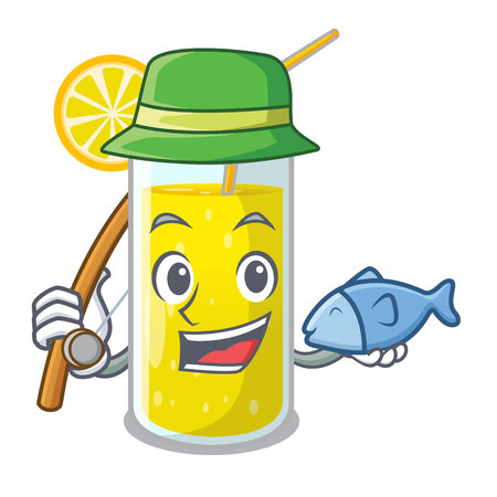 Fishing lemon juice glass on character table vector illustration Vectores