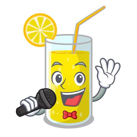 Singing lemon juice glass on character table vector illustration Illustration