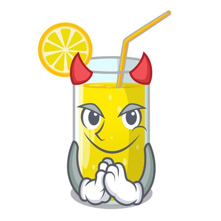 Devil lemon juice glass on character table vector illustration Illustration