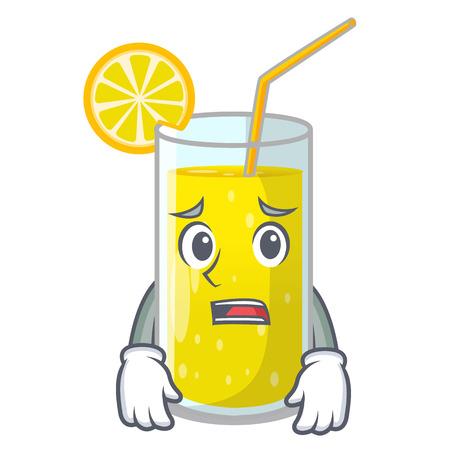 Afraid lemon juice glass on character table vector illustration Illustration