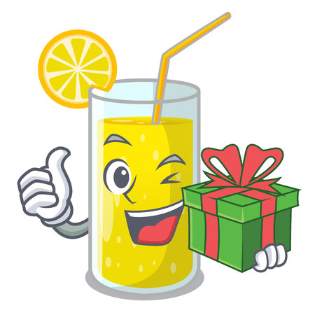 With gift lemon juice glass on character table vector illustration