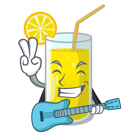 With guitar lemon juice glass on character table vector illustration Illustration