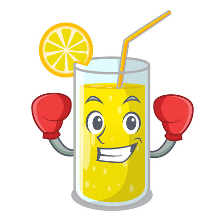 Boxing lemon juice glass on cartoon shape vector illustration
