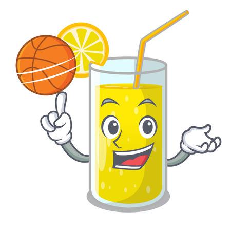With basketball lemon juice glass on cartoon shape vector illustration