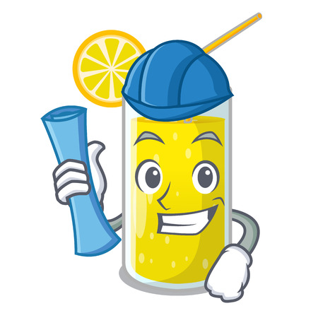Architect glass fresh lemon juice on mascot vector illustration