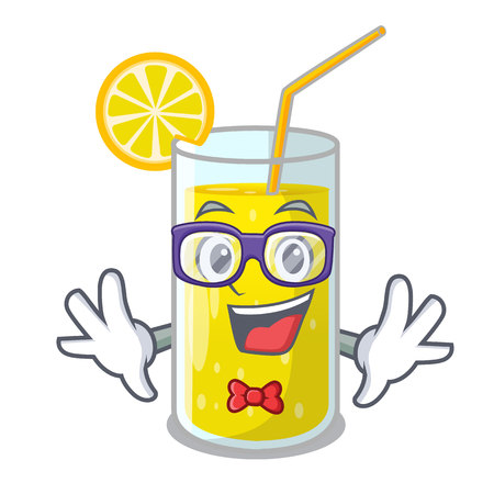 Geek glass fresh lemon juice on mascot vector illustration
