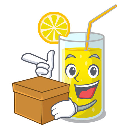 With box glass fresh lemon juice on mascot vector illustration