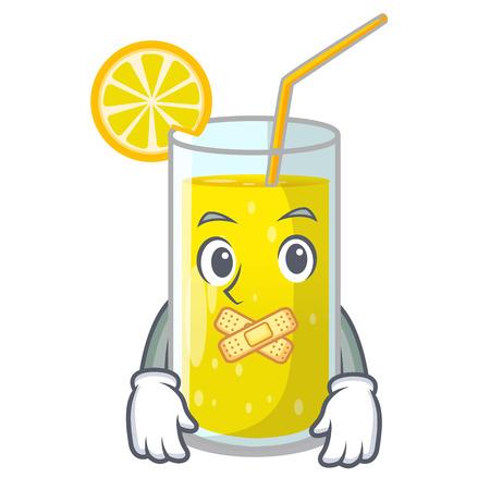 Silent fresh lemon juice in glas cartoon vector illustration