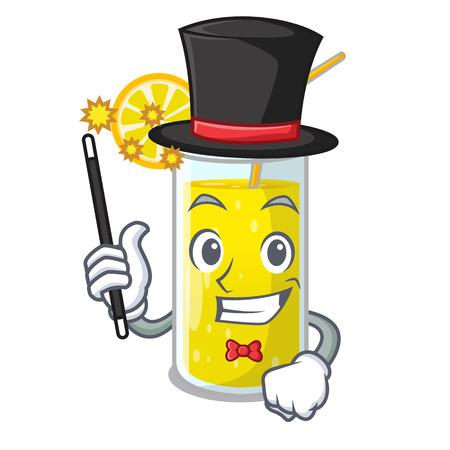 Magician fresh lemon juice in glas cartoon vector illustration