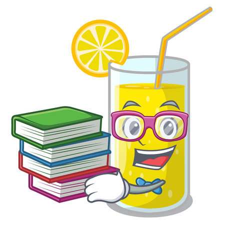 Student with book fresh lemon juice in glas cartoon vector illustration