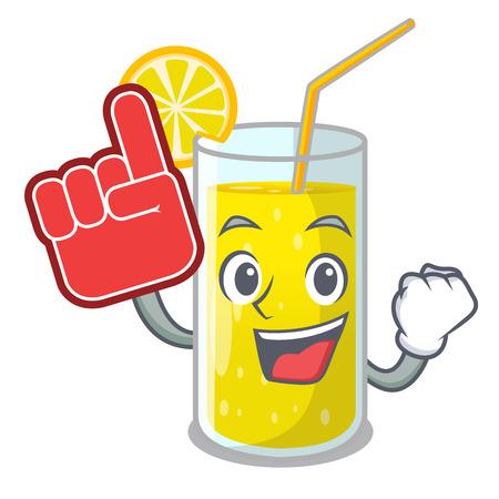 Foam finger fresh lemon juice in glas cartoon vector illustration