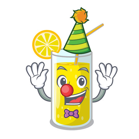 Clown fresh lemon juice in glas cartoon vector illustration