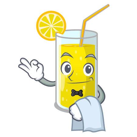 Waiter lemon juice glass on character table vector illustration Illustration