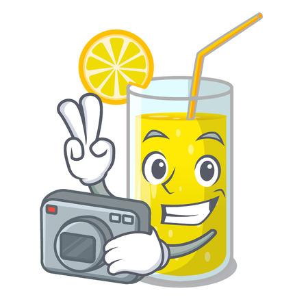 Photographer lemon juice glass on character table vector illustration