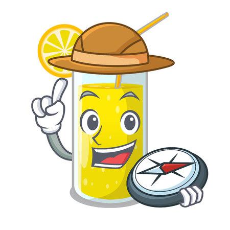 Explorer lemon juice glass on character table vector illustration