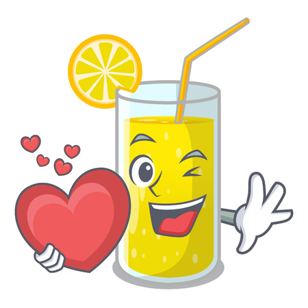 With heart lemon juice glass on character table vector illustration