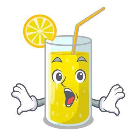 Surprised lemon juice glass on character table vector illustration