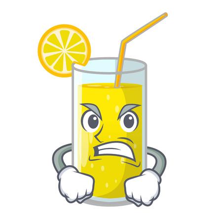 Angry lemon juice glass on character table vector illustration