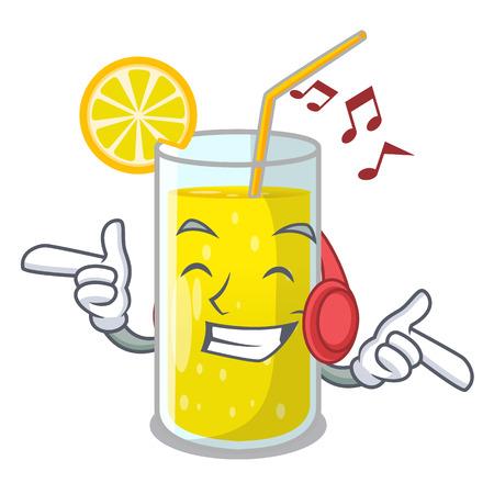 Listening music lemon juice glass on character table vector illustration